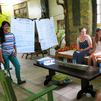 Language lesson in the Work the World house in Iloilo
