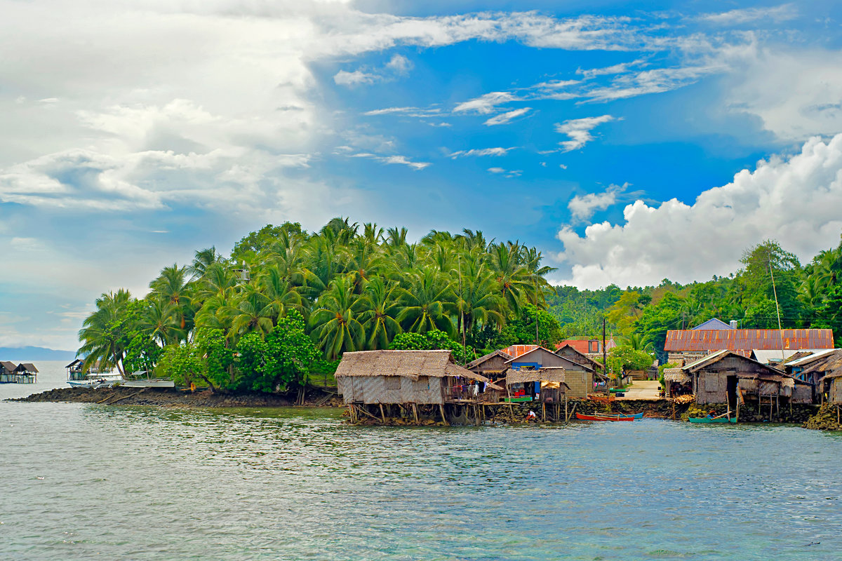 Tropical landscape with traditional Philippines fishermans  village. Shiargao island, Philippines