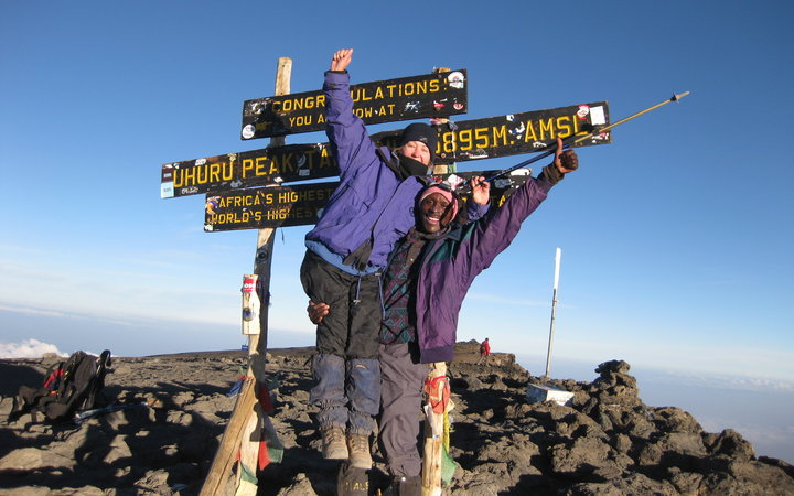 At the summit of Mount Kilimanjaro