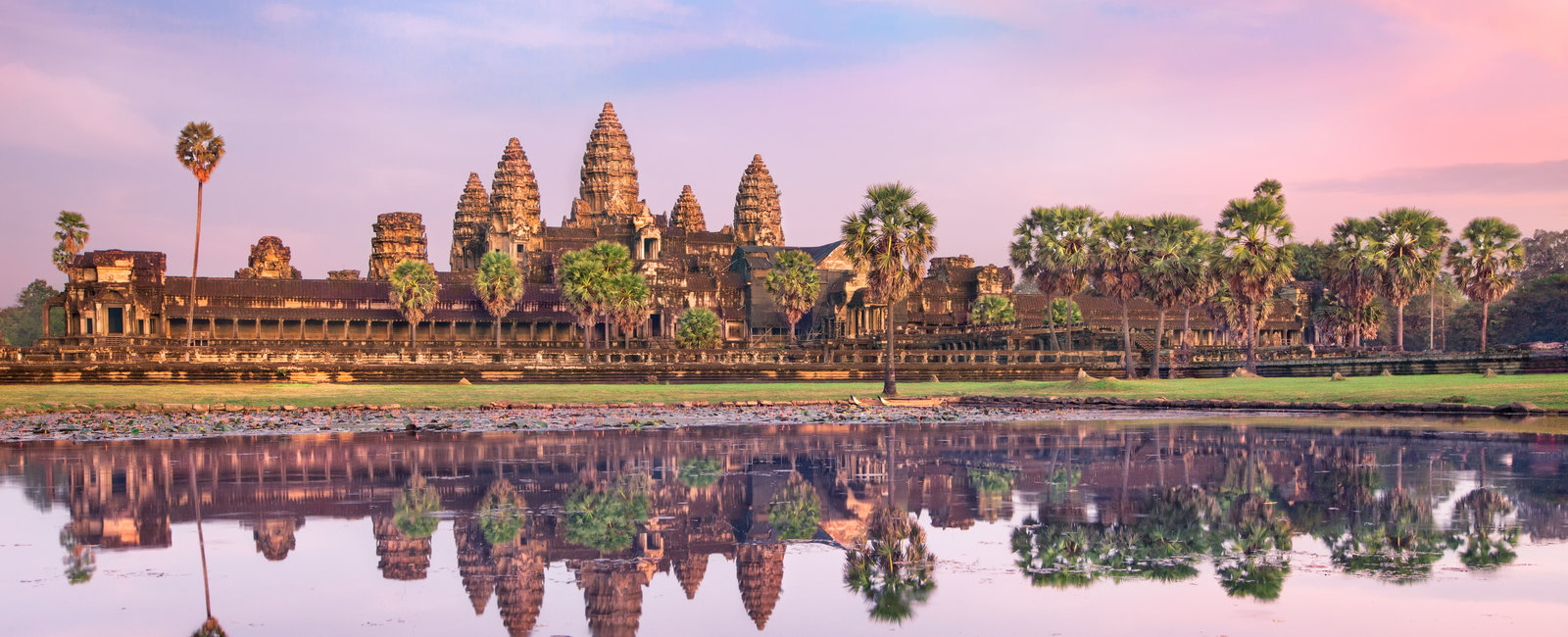 Famous Angkor Wat temple complex in sunset, near Siem Reap, Cambodia.Panoramic view.